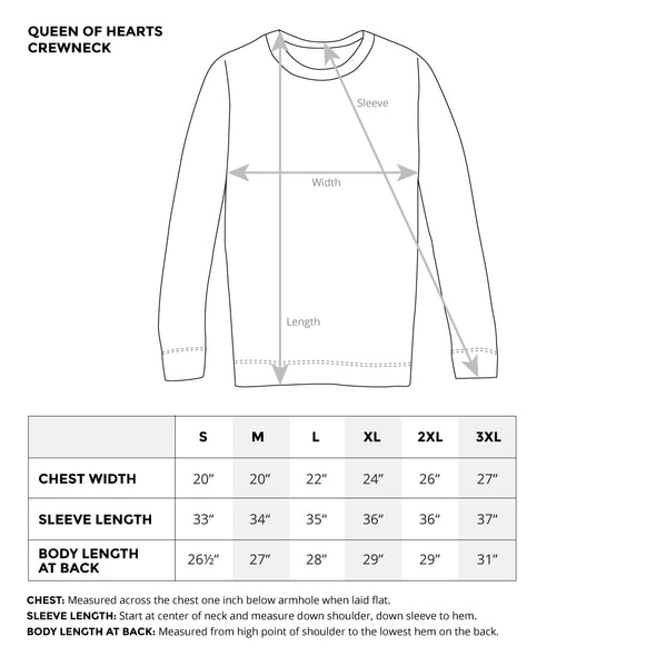 queen of hearts unisex crewneck sweater size chart