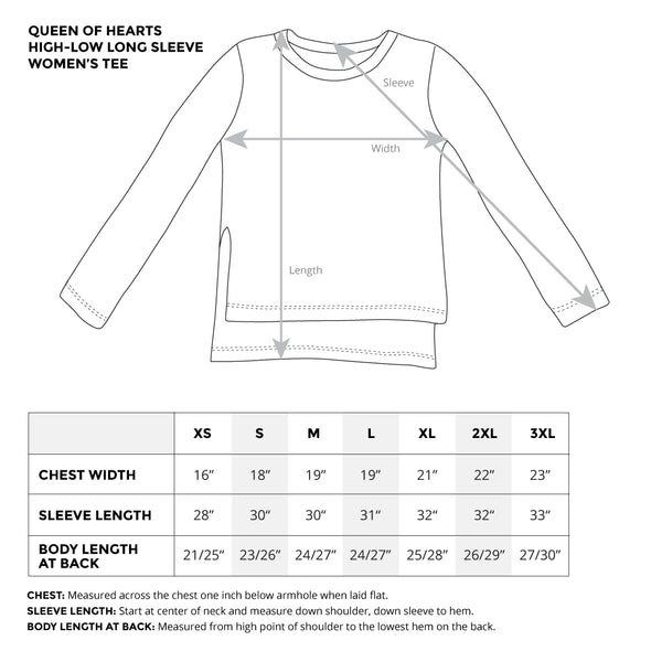 queen of hearts long sleeve womens tee size chart