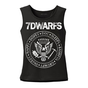 Black 7Dwarfs ladies muscle tee representing Snow White Seven Dwarfs and Ramones