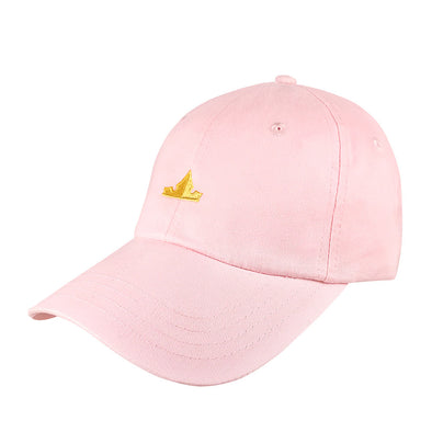 quarter view of make it pink dad hat inspired by aurora in sleeping beauty