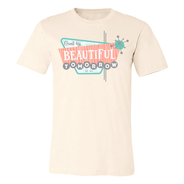 soft cream unisex tee with retro design Great Big Beautiful Tomorrow based off Disney attraction