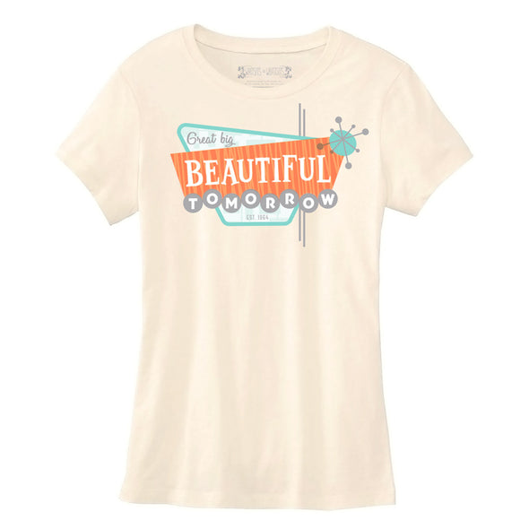soft cream womens tee with retro design Great Big Beautiful Tomorrow based off Disney attraction carousel of progress