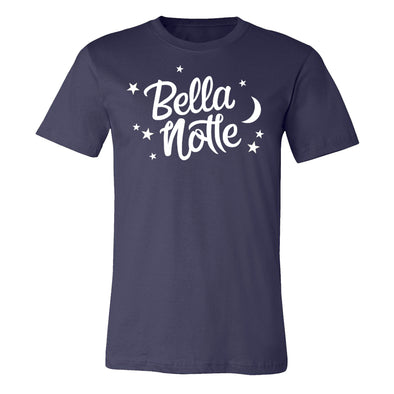 Navy color unisex tee with Bella Notte graphic inspired by Disney Lady the Tramp