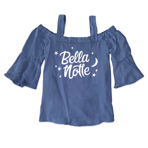 Open shoulder women's woven top with Bella Notte graphic inspired by Disney Lady the Tramp