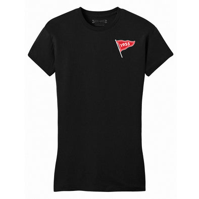 black womens fitted tee with a 1955 flag screen printed on the front
