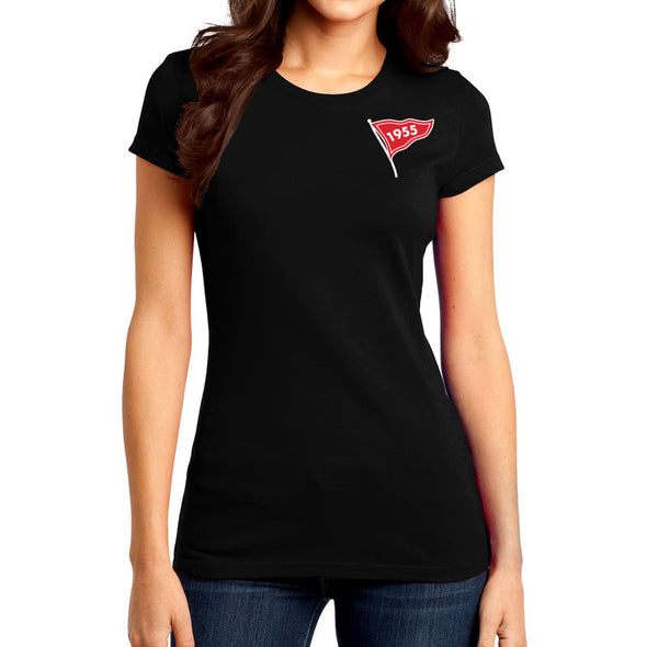 female model wearing a black women's fitted tee with a 1955 flag screen printed on the front