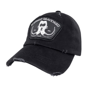 distressed black elephant graveyard patch dad hat inspired by scar in lion king
