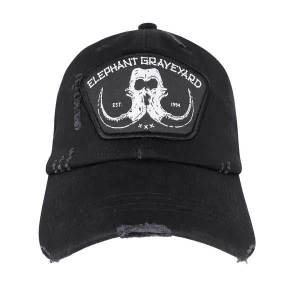front view of distressed black elephant graveyard patch dad hat inspired by scar in lion king