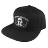 black snapback with Elephant Graveyard embroidered patch