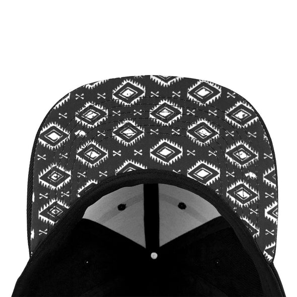 black snapback with Elephant Graveyard tribal pattern containing hyenas