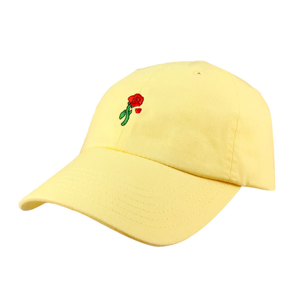 yellow enchanted rose dad hat inspired by princess belle from beauty and the beast