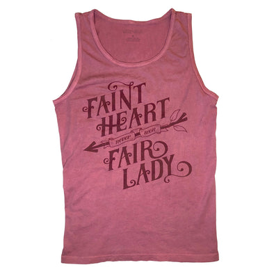 faint heart never won fair lady spoken by robin hood in a maroon tank top