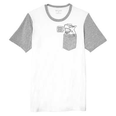 white grey unisex pocket tee with howdy shark inspired by toy story