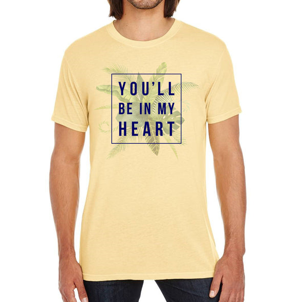 front of male model wearing you'll be in my heart yellow unisex tee inspired by phil collins song in Tarzan
