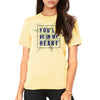 front of female model wearing you'll be in my heart yellow unisex tee inspired by phil collins song in Tarzan