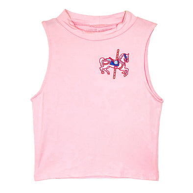 front of jingles tank that is a pink mock neck tank top inspired by the lead horse on king arthurs carrousel in disneyland