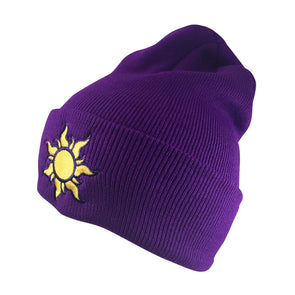 quarter view of purple lost princess beanie adorned with gold sun embroidery