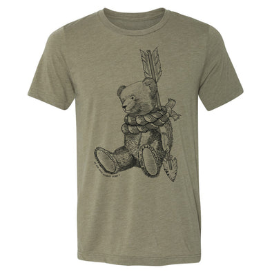 Front of Michaels bear unisex tee a heather olive color with a teddy bear roped around an arrow inspired by peter pan