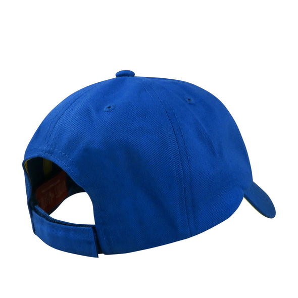 back velcro strap view of blue yellow poison apple dad hat inspired by snow white seven dwarfs