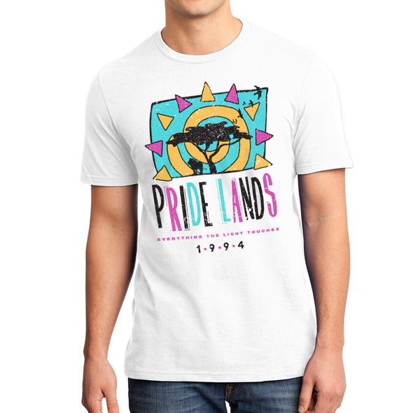 male model wearing white unisex pride lands everything the light touches tee inspired by lion king