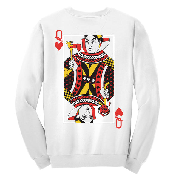 back view of white queen of hearts unisex crewneck sweater featuring red queen from alice in wonderland
