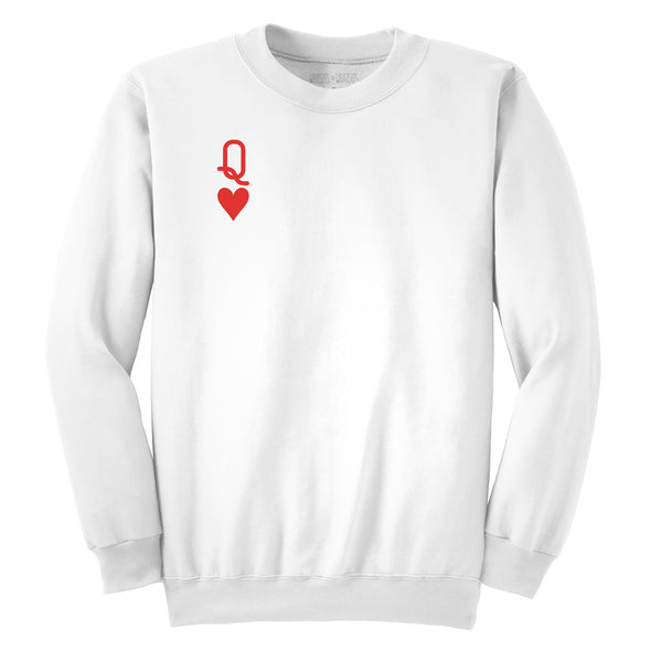 front view of white queen of hearts unisex crewneck sweater featuring red queen from alice in wonderland