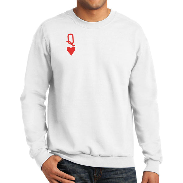 front of male model wearing white queen of hearts unisex crewneck sweater featuring red queen from alice in wonderland