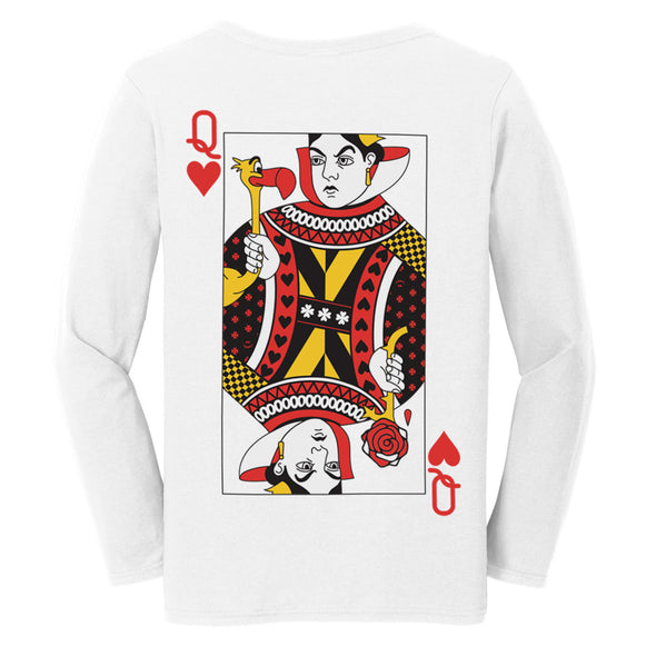back graphic of queen of hearts playing card with painted rose and flamingo on white womens long sleeve tee