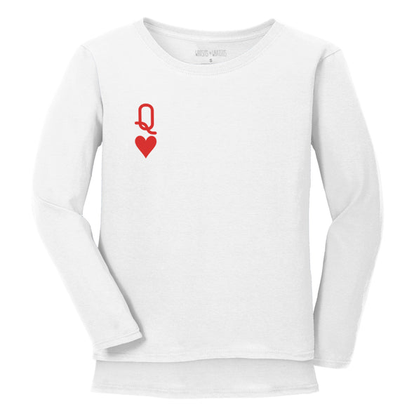 front graphic of queen of hearts symbol on white womens long sleeve tee