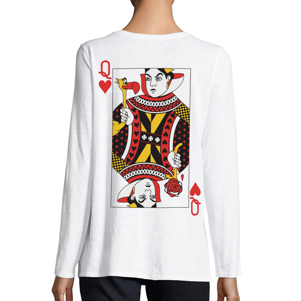 back of female modeling wearing queen of hearts playing card with painted rose and flamingo on white womens long sleeve tee