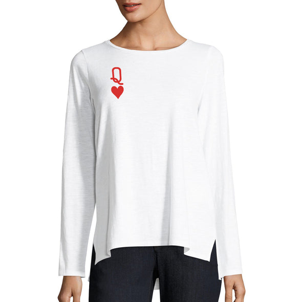 front of female model wearing queen of hearts white womens long sleeve tee