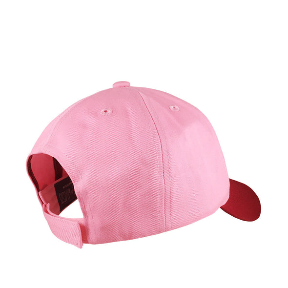 velcro strap in back view of two toned pink maroon reflection dad hat features flower icon inspired by mulan