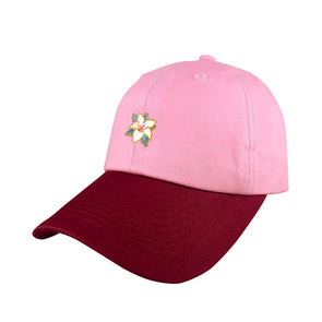 two toned pink maroon reflection dad hat features flower icon inspired by mulan