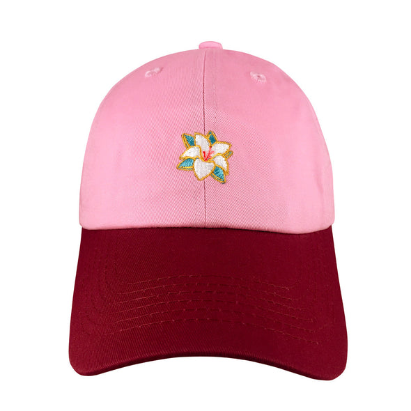 front of two toned pink maroon reflection dad hat features flower icon inspired by mulan