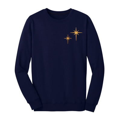 front of navy second star crewneck sweatshirt adorned with two gold stars inspired by peter pan