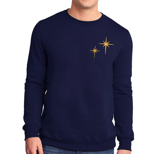 male modeling wearing navy second star crewneck sweatshirt adorned with two gold stars inspired by peter pan