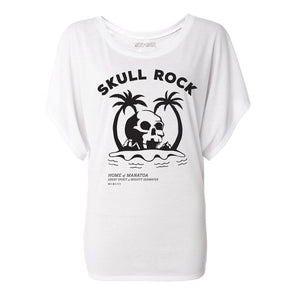 front of white skull rock flowy womens tee inspired by hook in peter pan