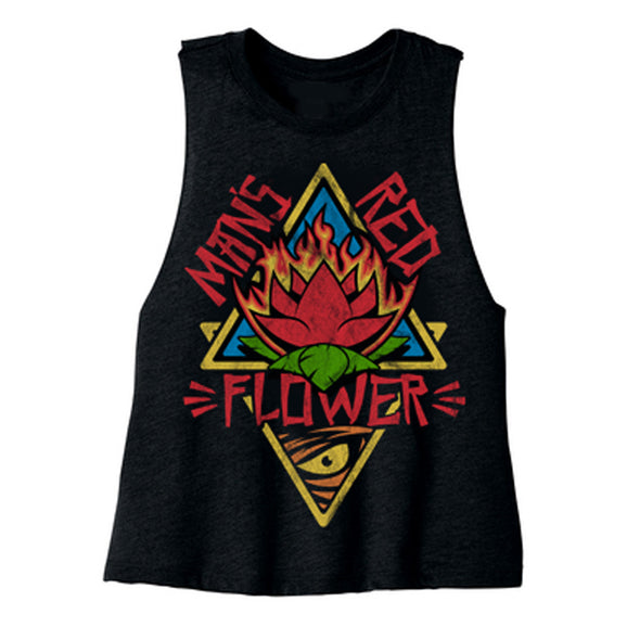 Man's Red Flower Ladies Crop Tank