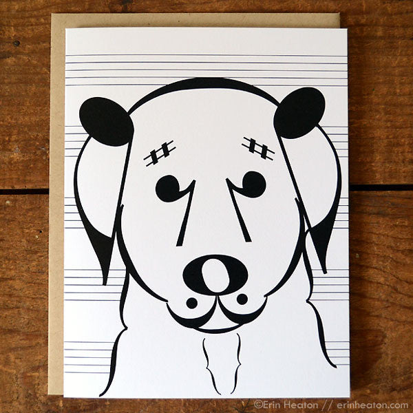 "Dog Series: ""Belle"" Music Note Card 