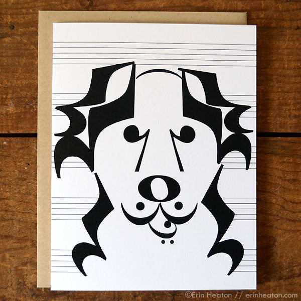 "Dog Series: ""Banjo"" Music Note Card 
