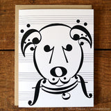 "Dog Series: ""Uke"" Music Note Card"