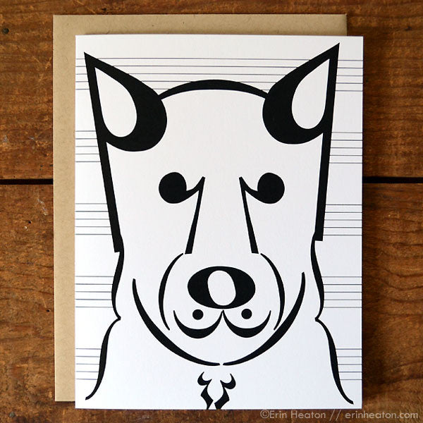 "Dog Series: ""Coda"" Music Note Card 