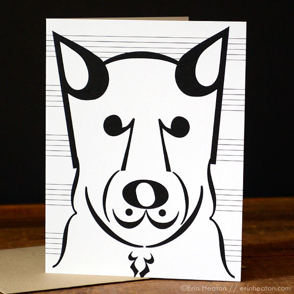 "Dog Series: ""Coda"" Music Note Card"