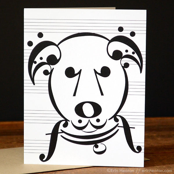 "Dog Series: ""Uke"" Music Note Card 