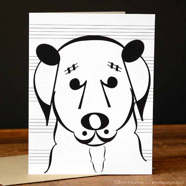 "Dog Series: ""Belle"" Music Note Card"