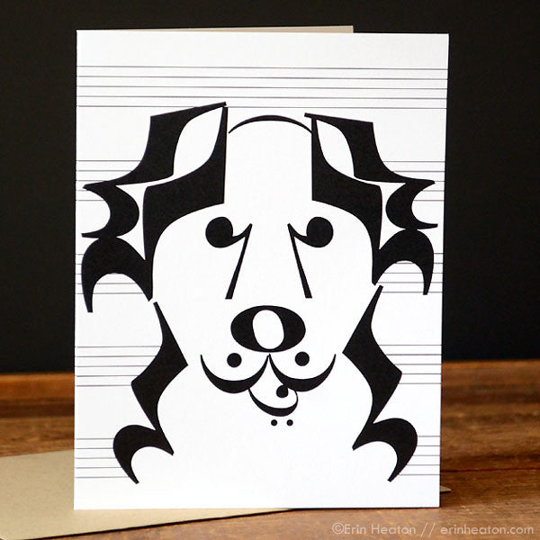 "Dog Series: ""Banjo"" Music Note Card"