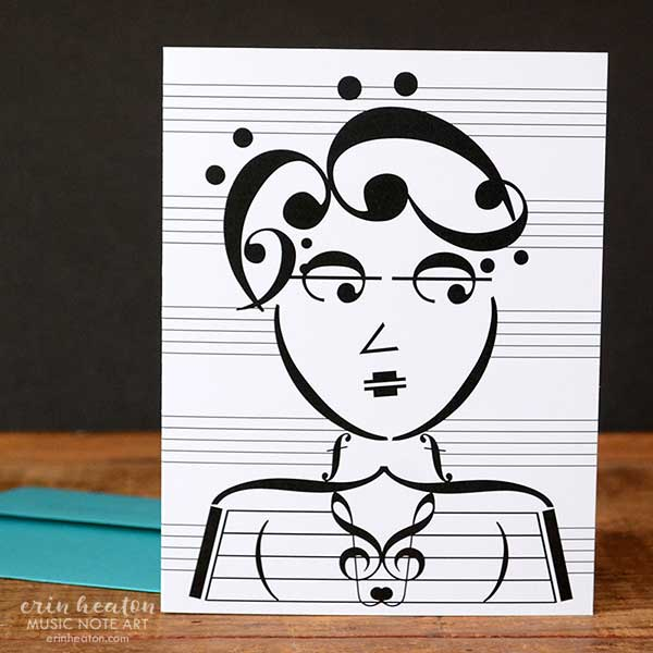 Beatnik Chick Music Note Greeting Card