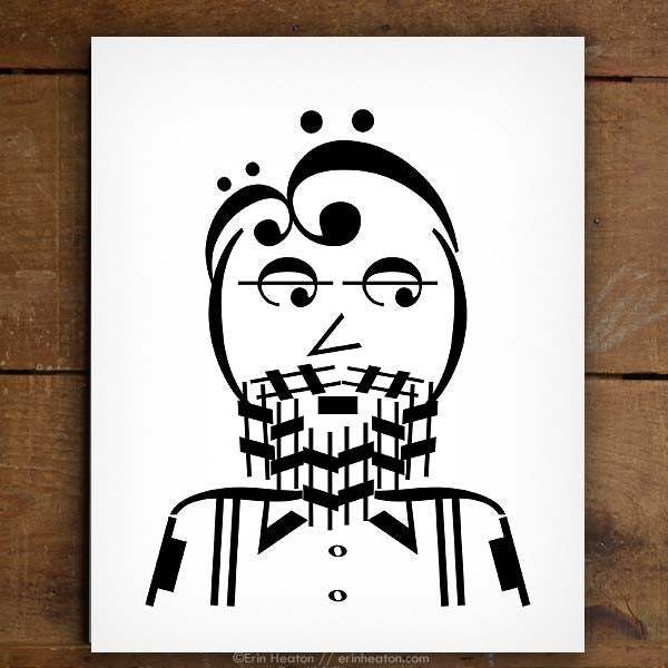 Indie Series: Bearded Guy Music Note Art Print