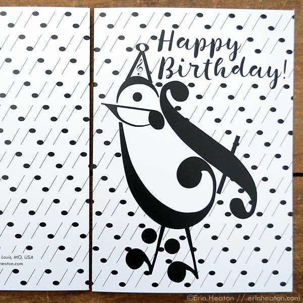 Party Bird Music Note Birthday Card