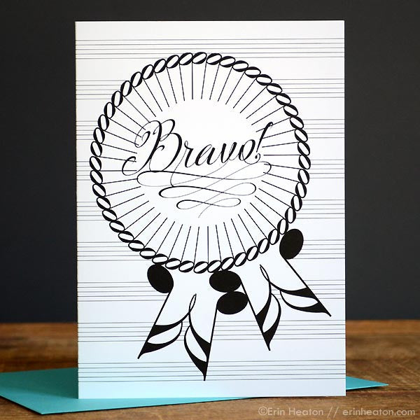 Bravo Award Ribbon Music Note Card